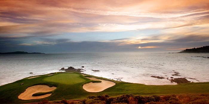 Pebble beach view in the sunset