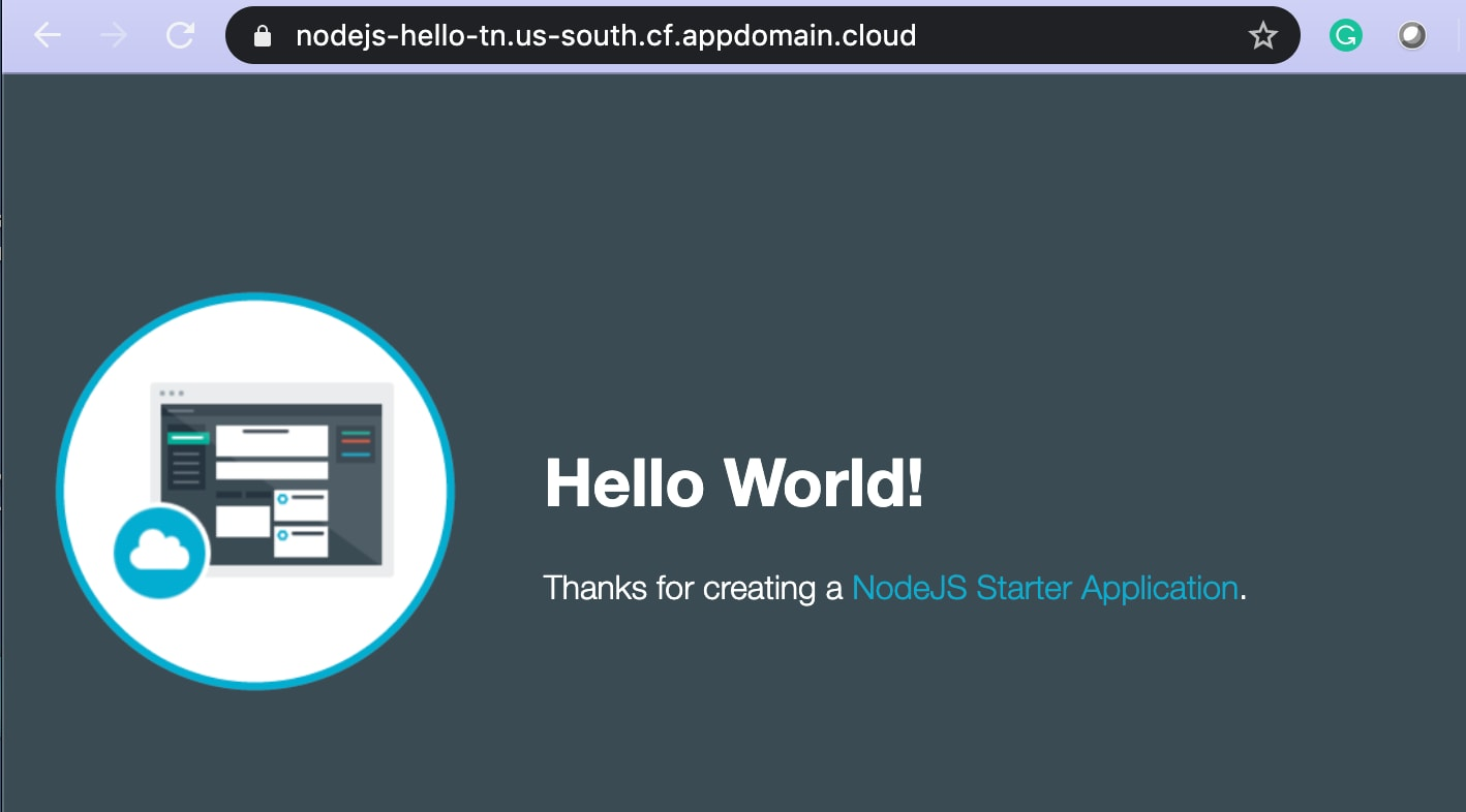 This is the sample Cloud Foundry application running on the IBM public cloud. For this tutorial, you can use the the Node.js Hello World sample source code.