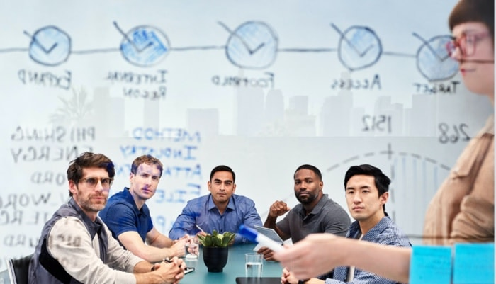 a group of people sitting around a table looking at a whiteboard