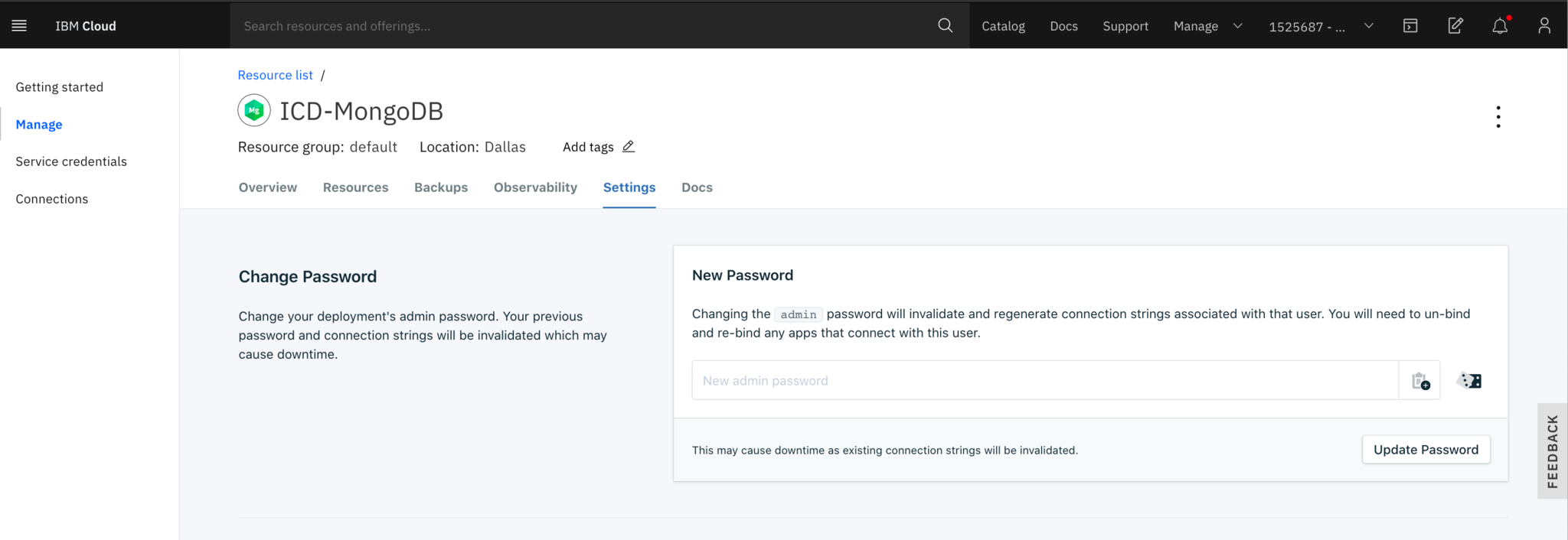 After the provisioning has finished, you'll be able to access your new database. Remember to change the administrator password of the new database by selecting the Settings tab and creating a new password: