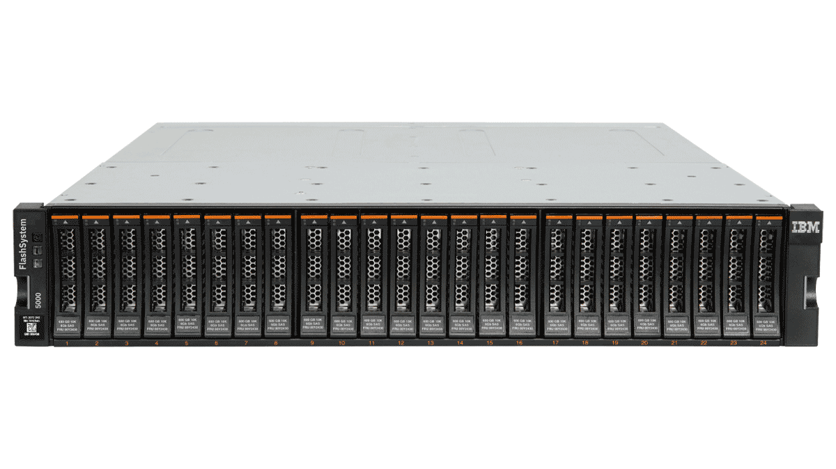 Picture of the IBM FlashSystem 5000 formerly known as the Storwize V5000E