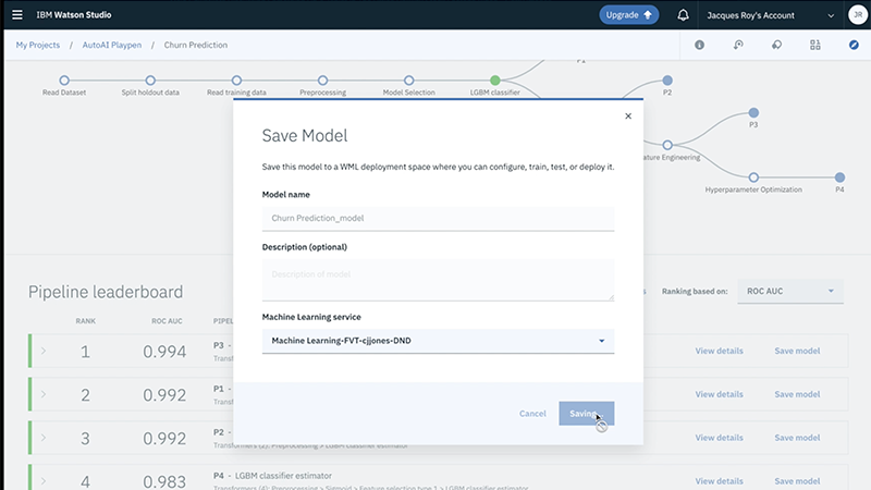Screenshot of one-click model save and deploy in Watson Studio