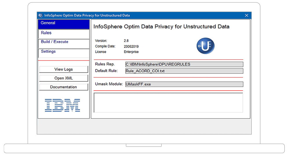screenshot of InfoSphere Optim Data Privacy for Unstructured Data application