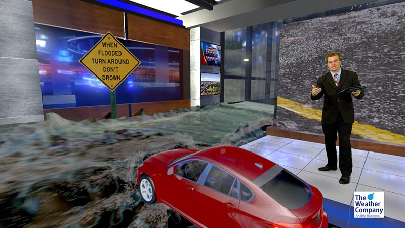 Display of flooding impact using Max Reality in a virtual set
