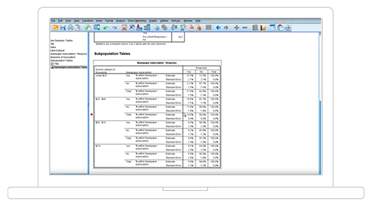 screen shot showing IBM SPSS software interface