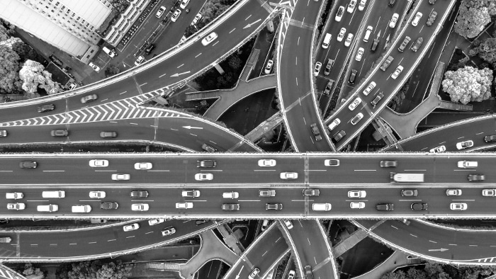 top view of a highway with cars