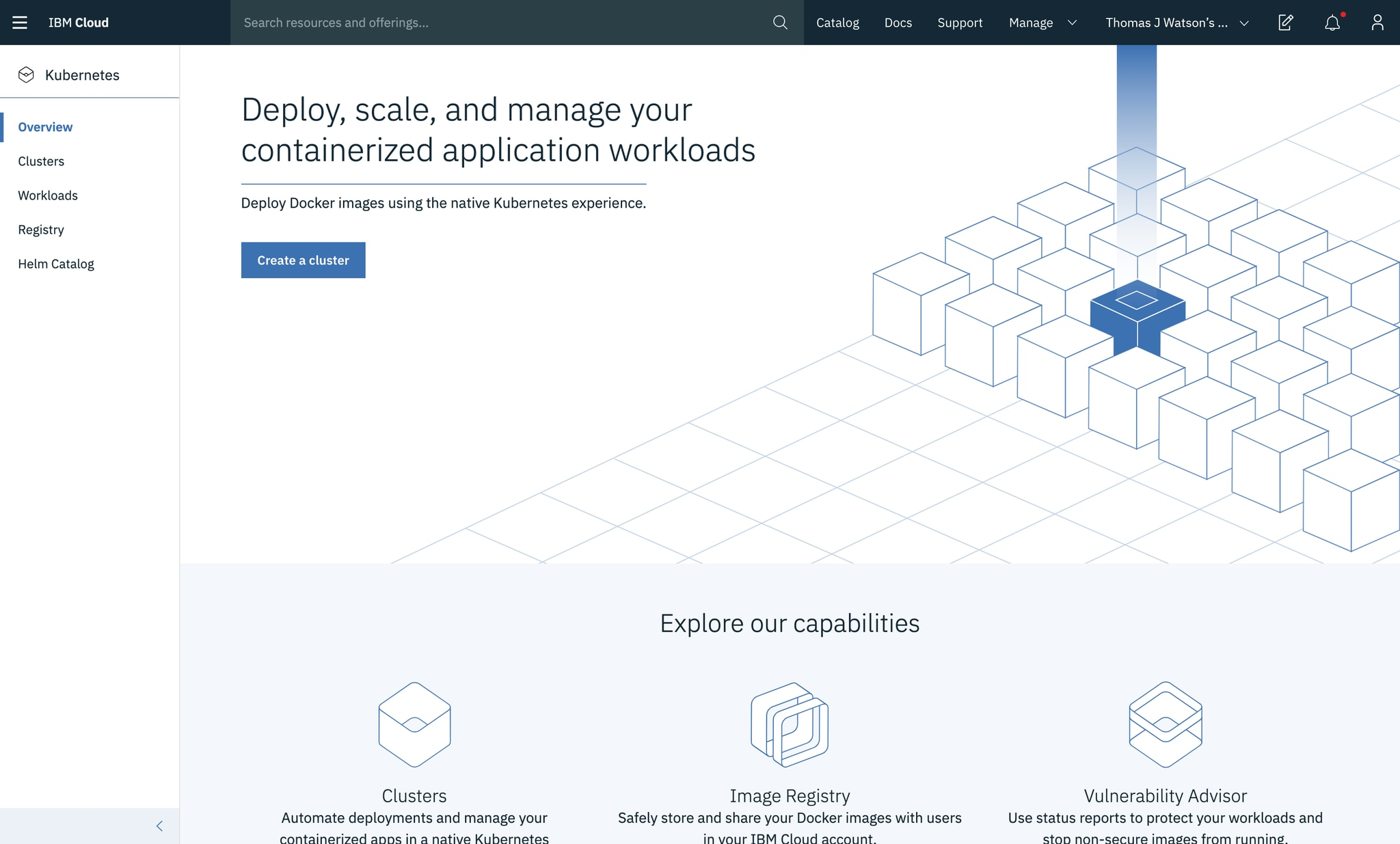 IBM Cloud Kubernetes Service page before