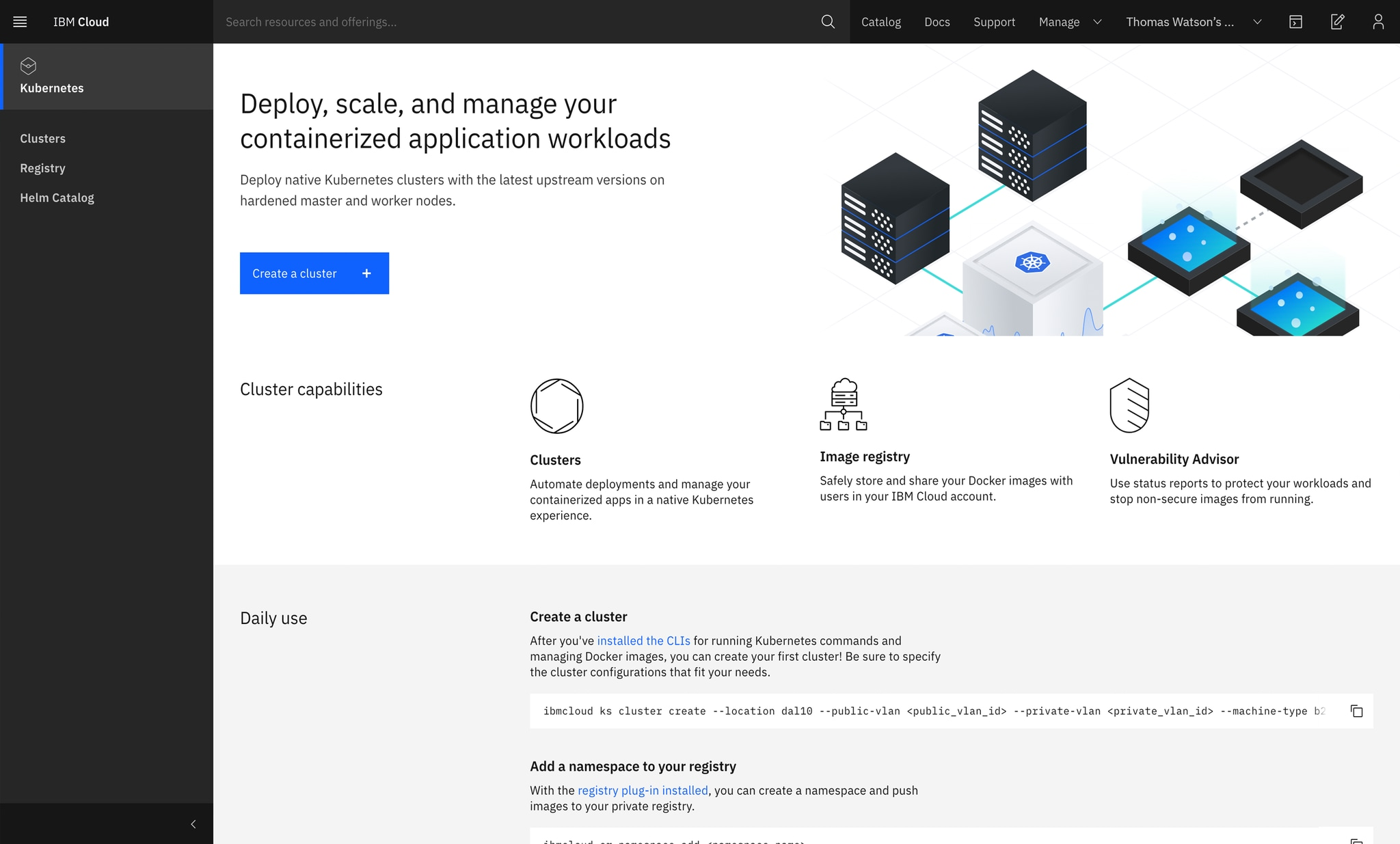 IBM Cloud Kubernetes Service page after