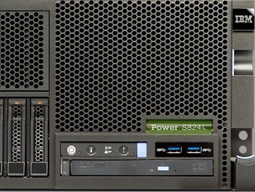 Close-up view of an IBM Power Systems server