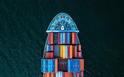ship with containers on the sea