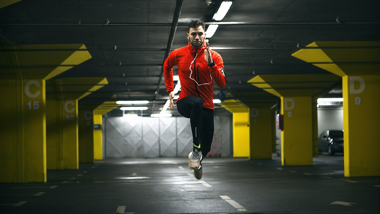 sports man running indoors