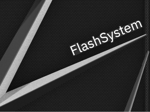 Close-up view of an IBM Flash storage server with FlashSystem logo