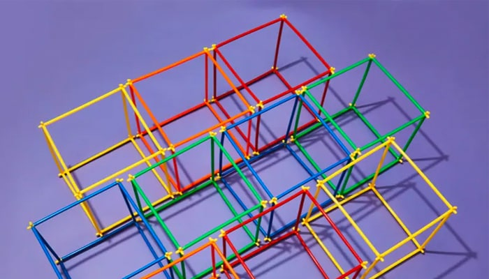 Multi-colored cube frames side by side