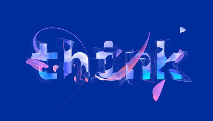 "Stylized word spelling out ""think"" with colorful swirls and lines"