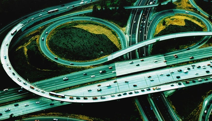 Overhead of highway and cars