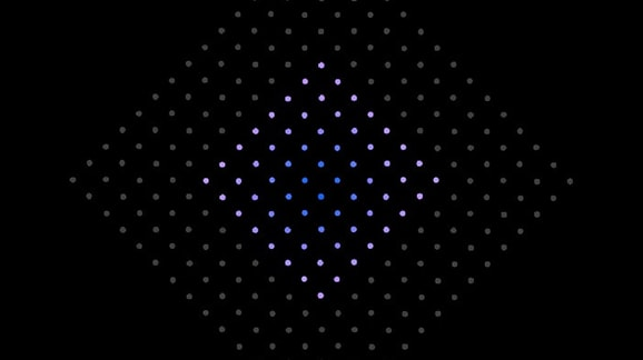 blue and pink dots surrounded by gray dots in a diamond shape