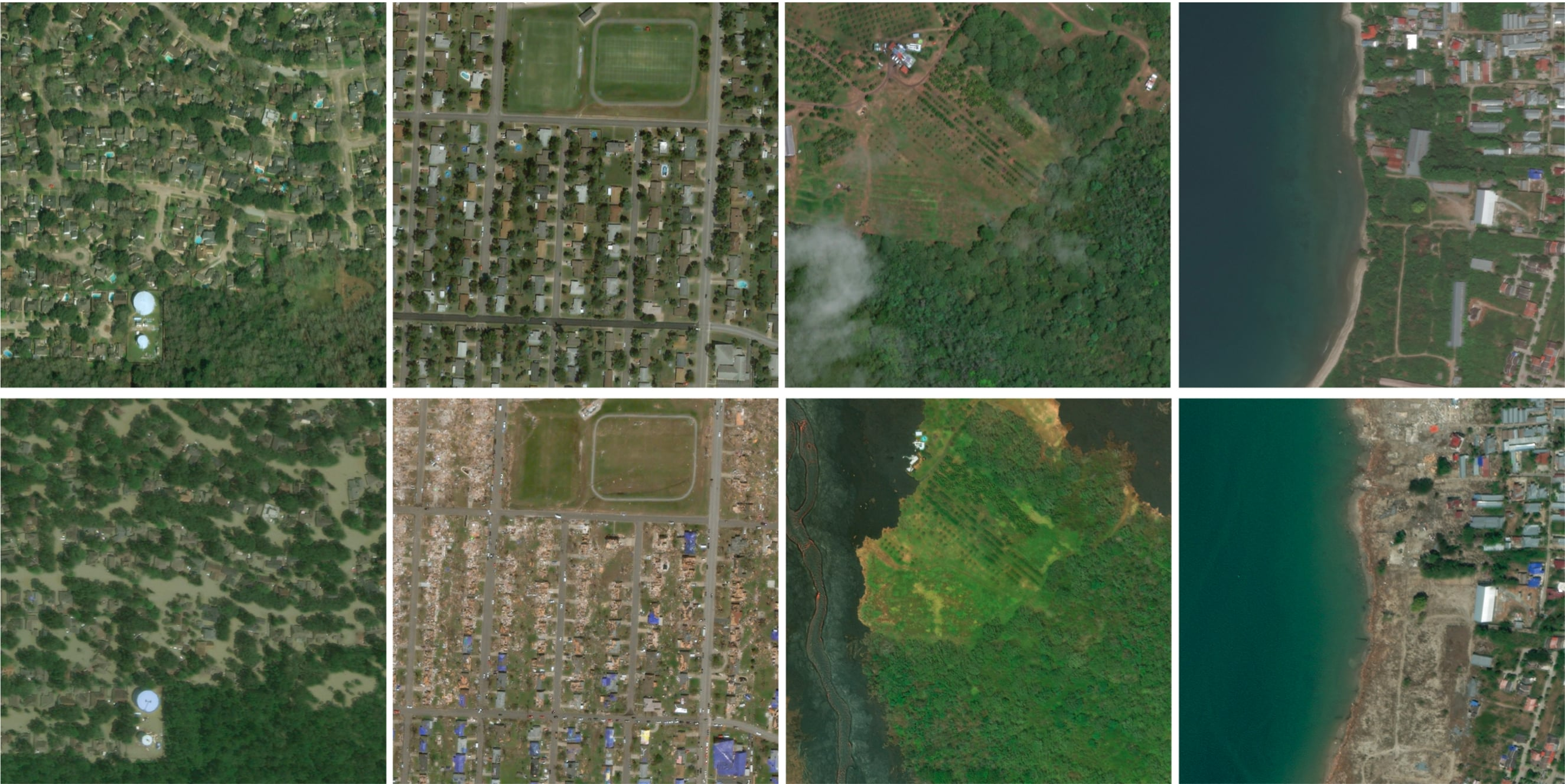 For training models, there are 9,168 pre-disaster/post-disaster 1024x1024 high resolution color images.