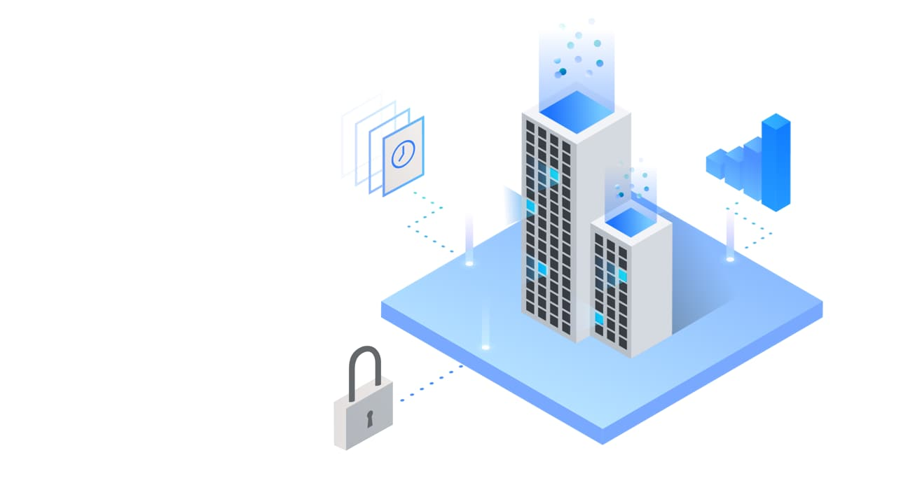 Buildings that contain hybrid cloud systems for analytics, security and efficiency