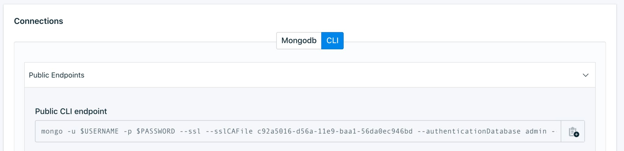 You can find this information in the Connections panel of your MongoDB deployment on the IBM Cloud UI.