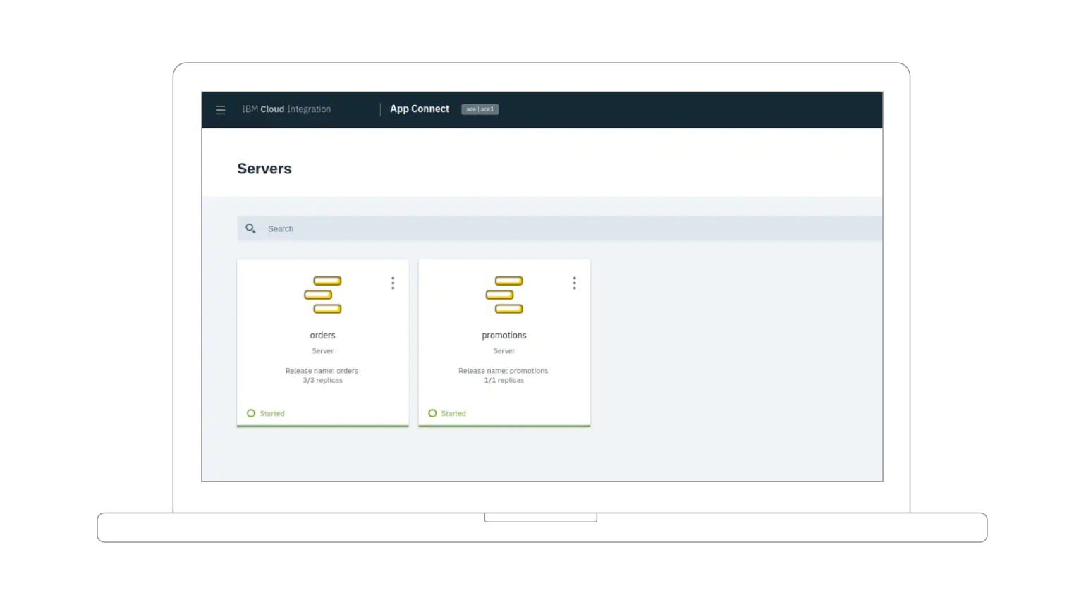Screenshot showing two servers in IBM App Connect