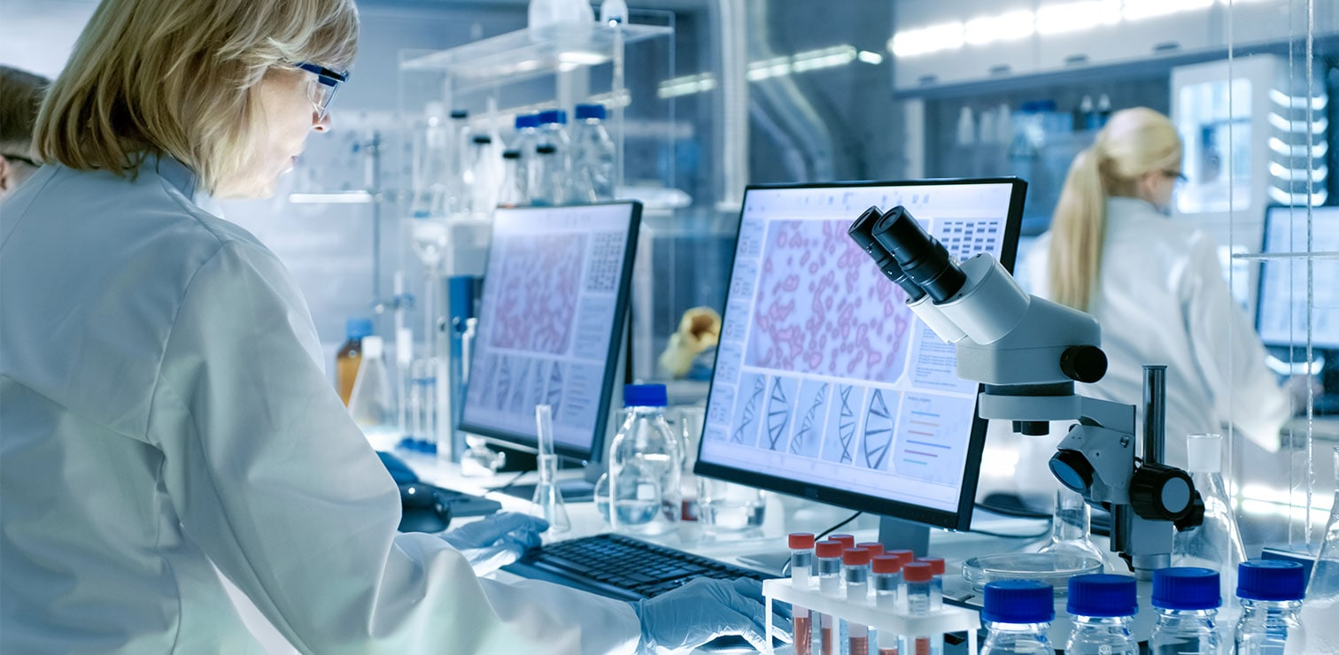 Scientists work in a lab with data