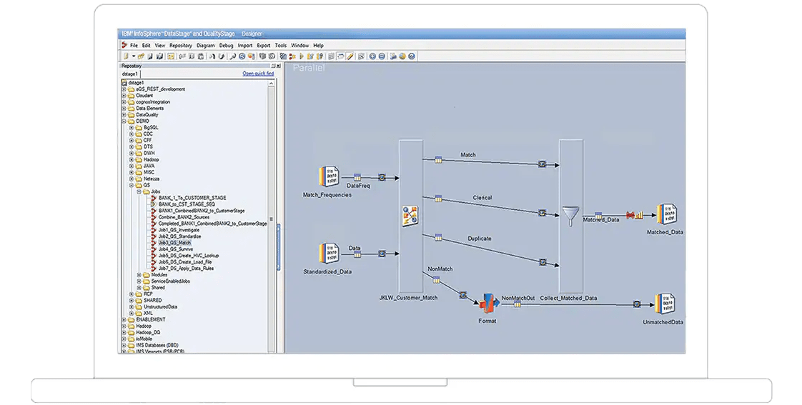 screenshot of InfoSphere QualityStage interface