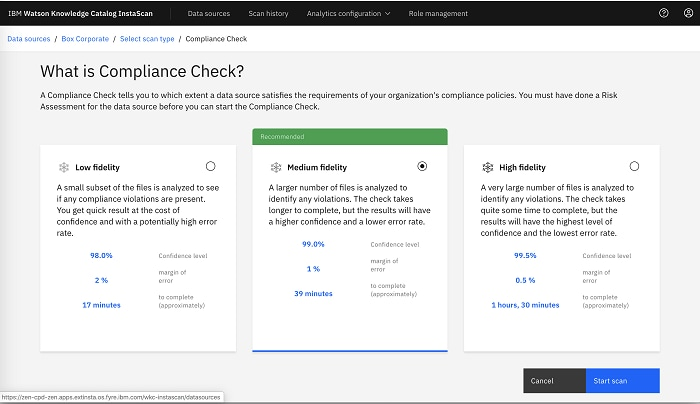 Screenshot showing compliance check dashboard interface