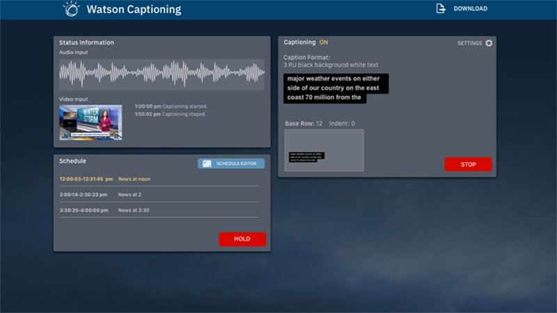 Watson Captioning Live Home Page UI