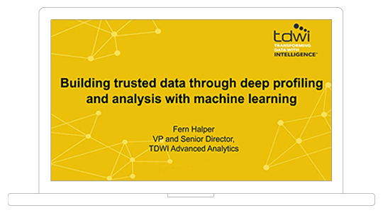 Screenshot showing the Using machine learning to build trusted data webinar