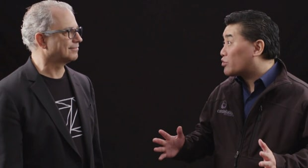 IBM's Ross Mauri and analyst Ray Wang the new z15 platform