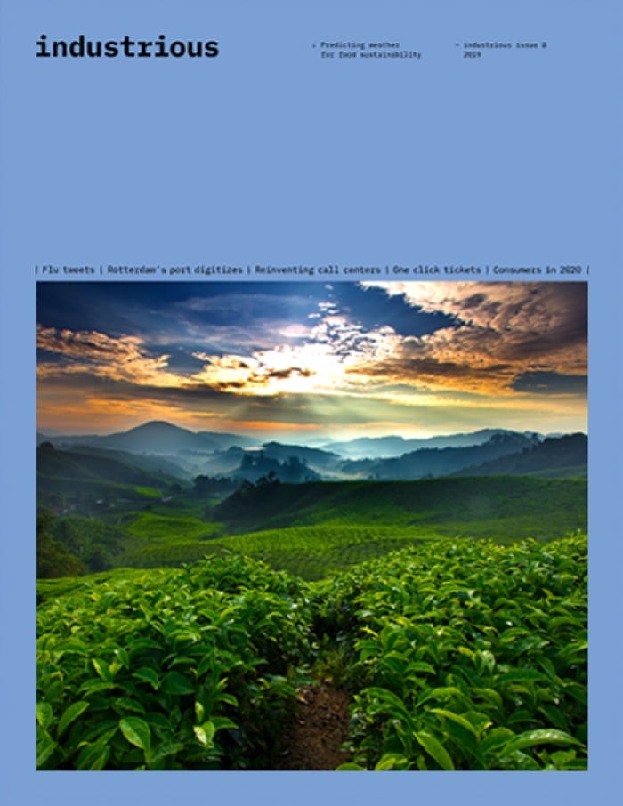 A cover with a picture of a forest and the horizon