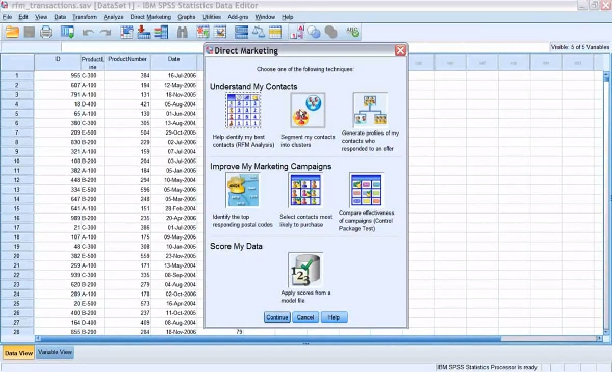 IBM SPSS Direct Marketing Module Demo