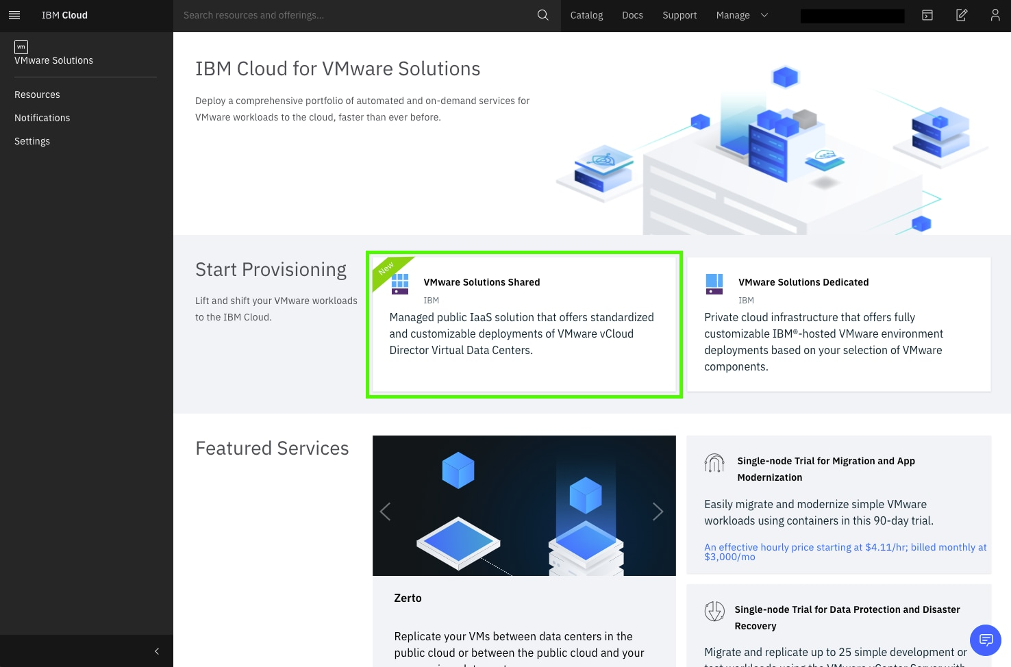 On the VMware page, you will see a variety of options. Choose the VMware Solutions Shared option.