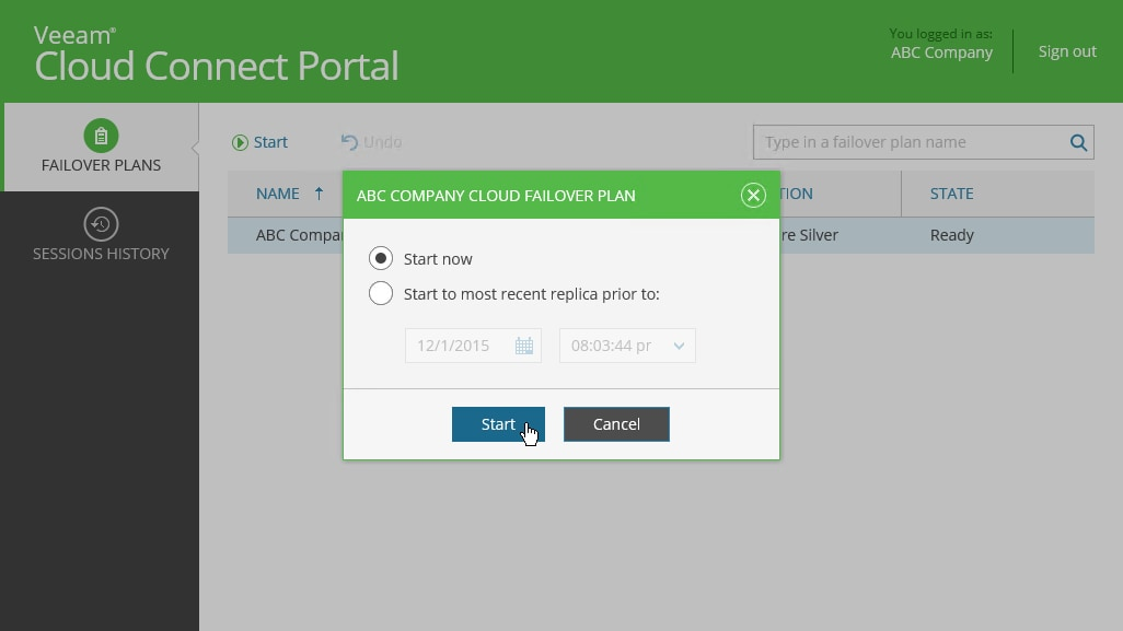 Once logged in, you should be able to view the Cloud Connect Portal, where you can see your failover plans.