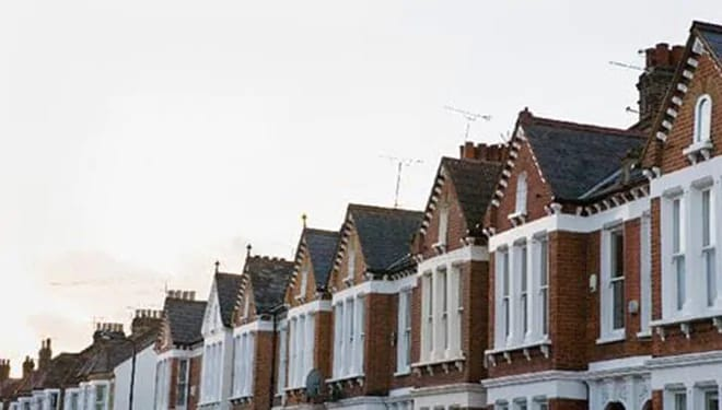 an angled view of a row of houses
