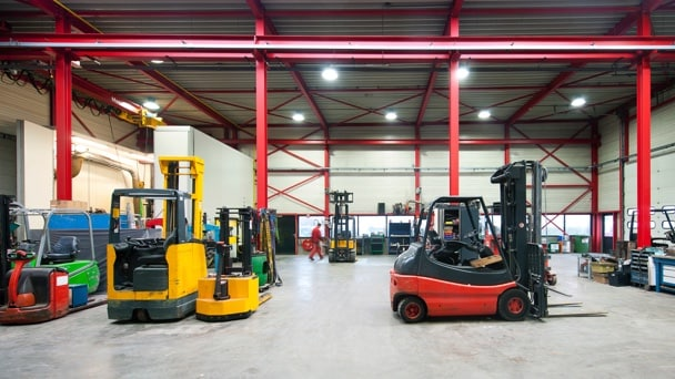 Forklifts in a logistic shed