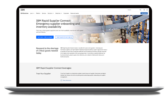 IBM Rapid Supplier Connect web page