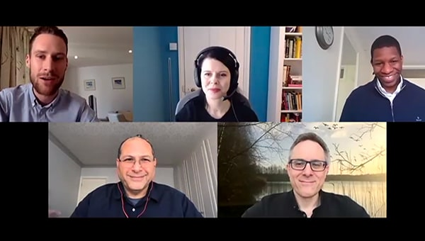 5 people on an online conference call