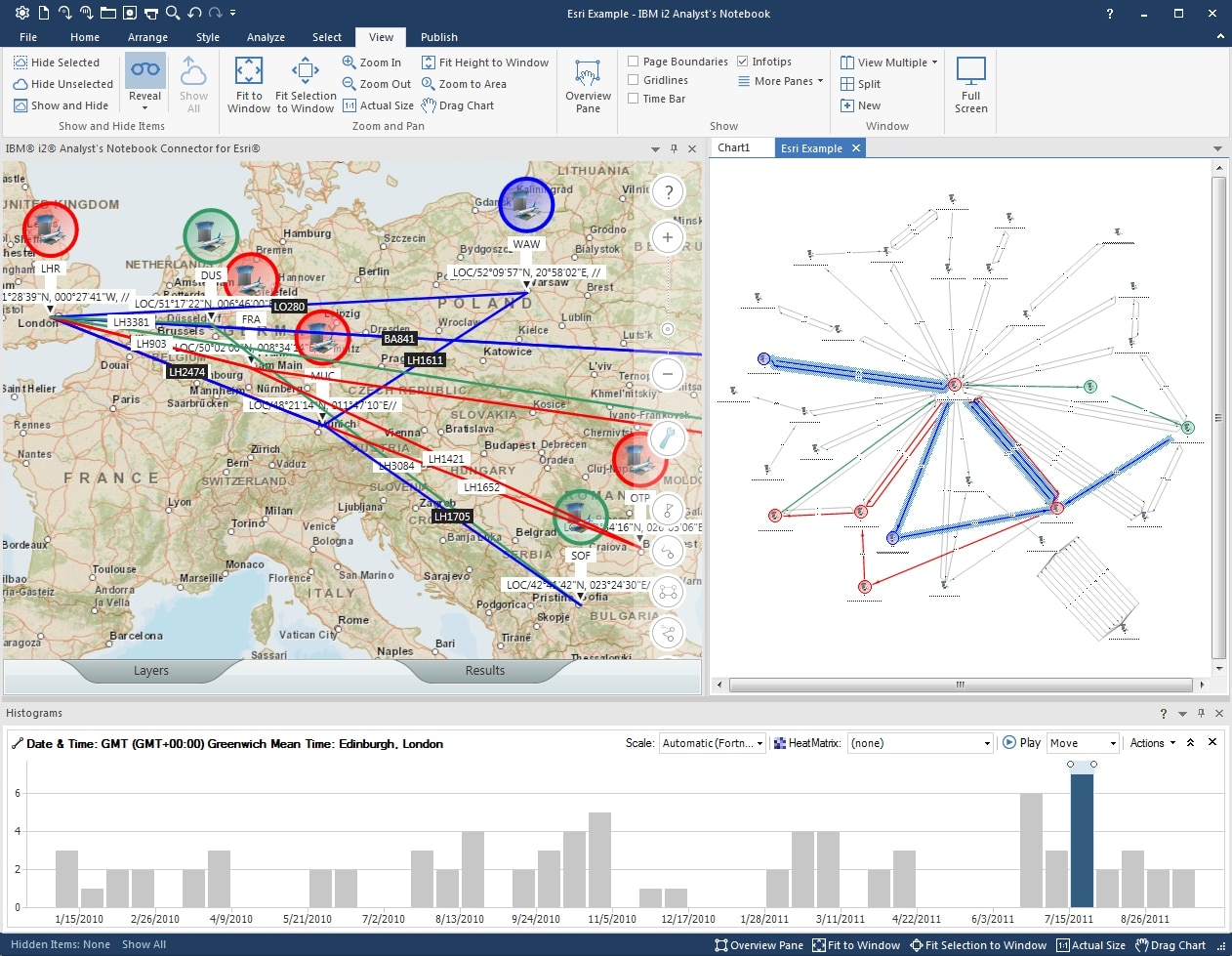 Screen shot of temporal and geospatial views available in IBM i2 Analyst's Notebook