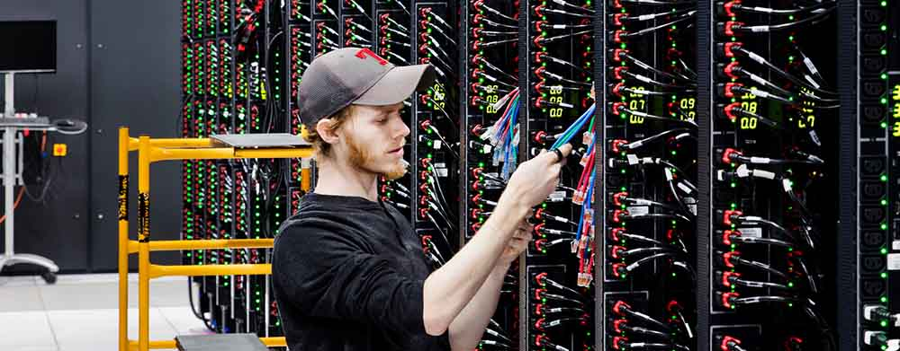 Man working on servers