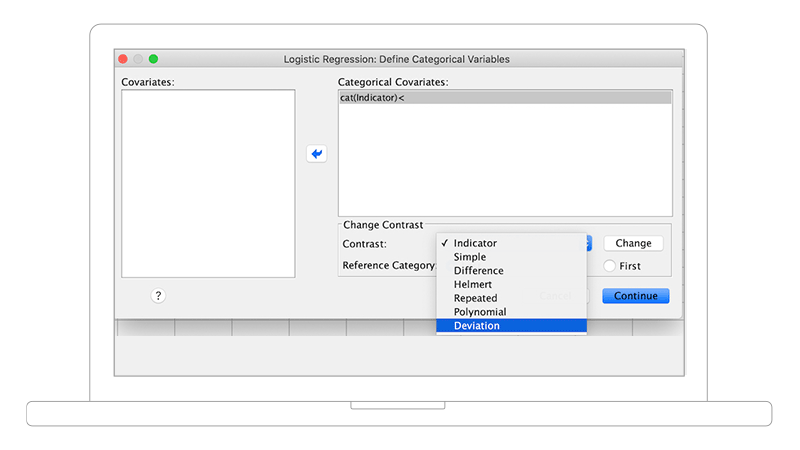 Screenshot showing categorical variable options