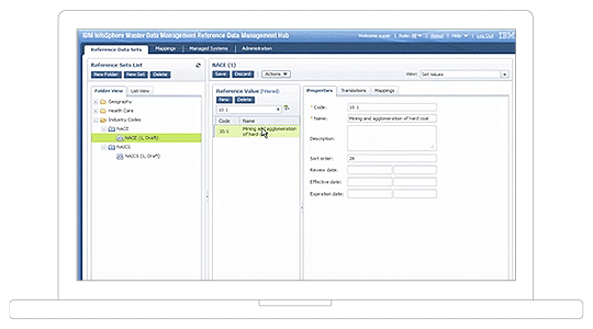 user interface of centrally managing, distributing and standardizing reference data capability