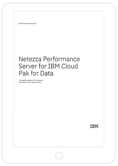 Front page of Netezza Performance Server for IBM Cloud Pak for Data solution brief