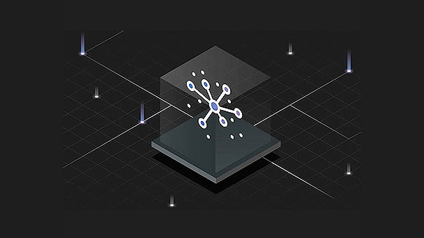 transparent cube containing abstract image surrounded by lights
