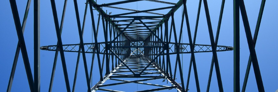 Structural supports of a power line tower