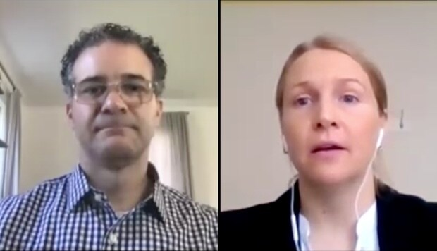 Man and woman talking on a video conference during Think 2020