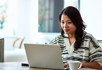 Woman looking a computer image