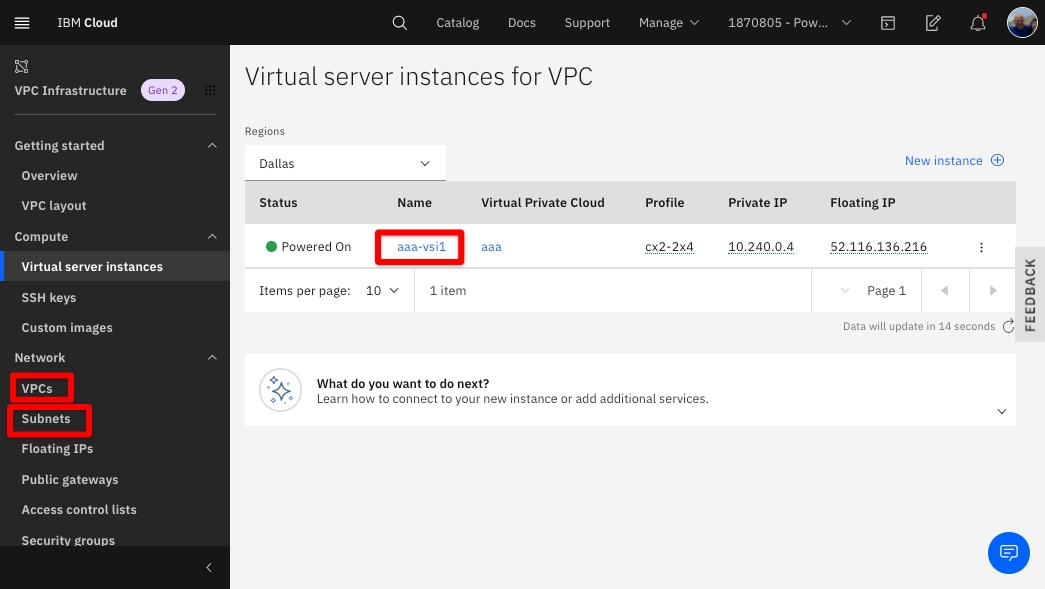 Figure 9: Viewing your VPC resources on IBM Cloud.