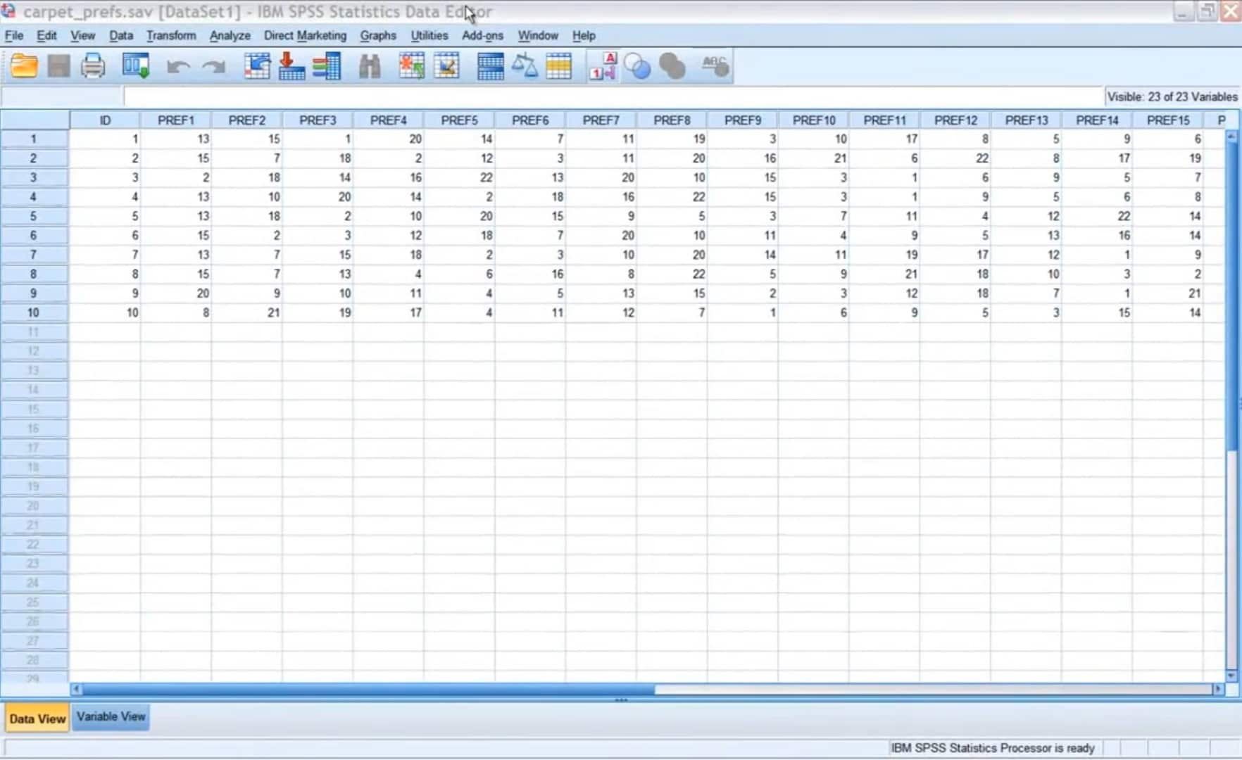 IBM SPSS Conjoint demo