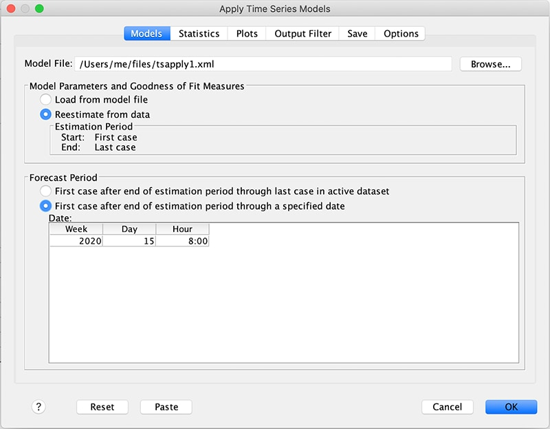 Model settings options window for Apply Time Series Models